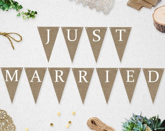 Just Married Banner // INSTANT DOWNLOAD // Printable // Wedding // Photo Prop // Burlap // Rustic // #PBP92