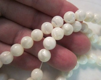 """8mm, Mother-of-Pearl Shell, Soft White, Handcut Round Beads - Available in 1/2 & Full (16"""") Strand Lengths and in Multi-Strand Pkgs"""