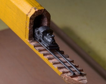 Made to Order: Pencil Carving - Train and Trestles Incredible Detail  Micro Pencil Lead Carving