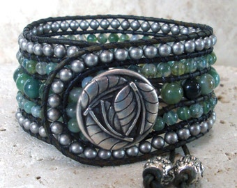 Moss Agate Handmade Beaded Leather Cuff Style Single Wrap Bracelet