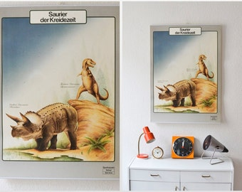 Vintage pull down chart dinosaur poster school map zoological biology