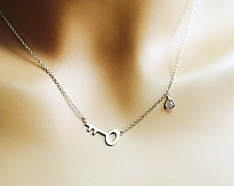 """All Sterling Silver Sideways Key Necklace, sterling necklace 16""""/17""""/18"""", minimalist jewelry, charm necklace"""