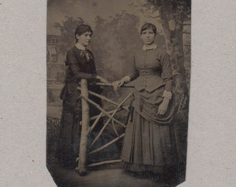 Tintype of Two Women Chatting Over a Fence