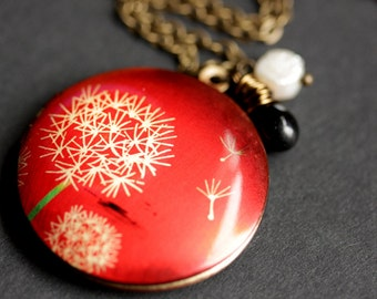 Make A Wish Locket. Red Locket Necklace with Fresh Water Pearl and Black Teardrop Charm. Dandelion Tuft Necklace. Handmade Jewelry.