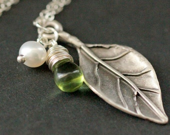 Silver Leaf Necklace. Fig Leaf Necklace. Leaf Charm Necklace with Glass Teardrop and Fresh Water Pearl. Leaf Jewelry. Handmade Necklace.
