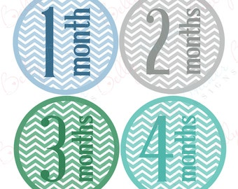 Boy Monthly Baby Stickers, 1 to 12 Months, Monthly Bodysuit Stickers, Baby Age Stickers, Chevron Print