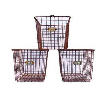 Vintage Industrial Rusty Wire Locker Basket