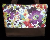 CLEARANCE SALE, Tote Bag, Purse, Handmade, Brown, Floral, Print, Ready to Ship, Handbag