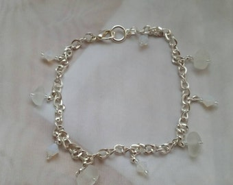 Frosted genuine beach glass anklet