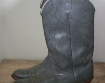 vintage grey leather cowboy boots mens size 9.5E