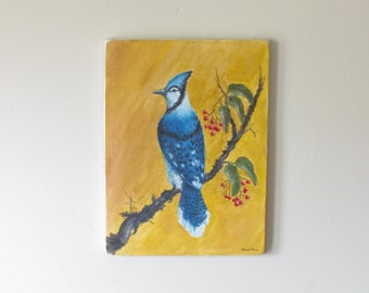 Vintage Blue Jay Painting - Oil On Canvas - Nature Painting