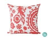Coral Suzani Floral Pillow Cover Sham - Many Sizes Lumbar, 12, 14, 16 - Zipper Closure - sc246l