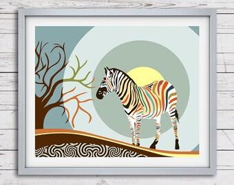 Zebra Art Print, African Safari  Pop Art Print, Nature Art Print, Zebra Wall Art Decor, African Animal Print, Zebra Painting, Afro Art
