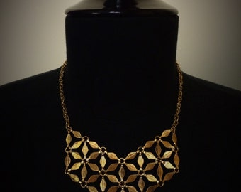 Flower of Life Gold Bib Necklace