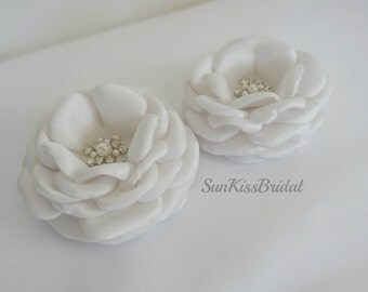 Set of 2 Ivory Bridal Hair Flower Clips with Rhinestones and Swarovski Pearls