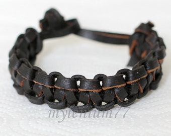 518 Men's leather bracelet brown Braided Leather bracelet men's bracelet Leather bracelet men's Jewelry bangle leather bracelet men