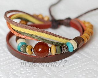 701 Women's brown leather bracelet Beads bracelet Charm bracelet Ropes bracelet Cords bracelet Fashion leather jewelry For women and girls