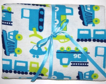 Pack n Play Fitted Cotton FLANNEL Sheet - Construction Dump truck