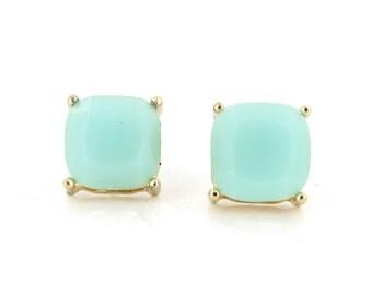 Simple Gold-tone Mint Green Square Stone Stud EARRINGS,B15