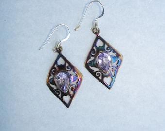 Amethyst earrings, diamond shaped earrings, geometric, copper, gift for her, 925 silver earrings,gift ideas for woman, birthstone earrings