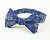 """Men's Bow Tie- Navy Floral (Adjustable, Self-Tie 14.5""""-18.5"""")"""