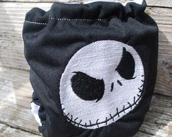 Jack Skeleton embroidered pocket diaper