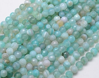 Faceted Dyed Agate Beads, Milky Aqua Blue, 6mm Round - 14 inch strand - eGR-AG58118-6