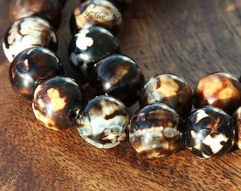 Ice Flower Agate Beads, 9mm Round - 14 Inch Strand - eGR-AG035-10