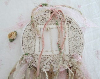OOAK vintage handmade dream catcher shabby chic french  lace wedding dream catcher antique lace and ralph lauren lillian material scrappy