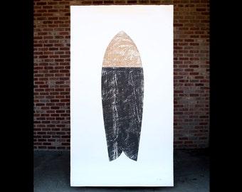"""Original Surfboard Wood Cut Print 4'x7' """"Vessel"""""""