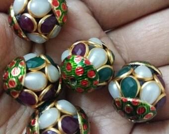 Meenakari pachi bead with gemstones x 5, 16mm x 18mm