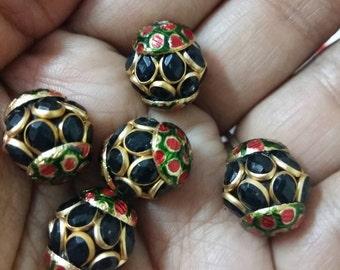 Meenakari pachi bead with gemstones x 5, 14mm x 16mm