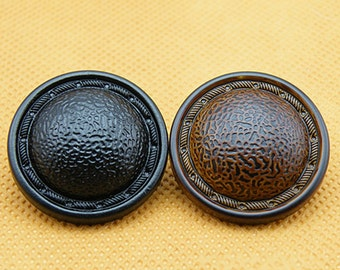 6 Pcs 0.71~0.98 Inches Black/Brown Imitation leather Plastic Shank Buttons For Coats Sweaters