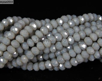 100Pcs Grey Opal Czech Crystal 2mm x 3mm Faceted Rondelle Loose Spacer Beads For Bracelet Necklace Jewery Making Crafts