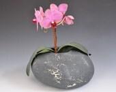 Pebble-like black ceramic vase with crawling glaze, Ikebana vase, Holidays gift, wedding gift, house warming gift, hostess gift