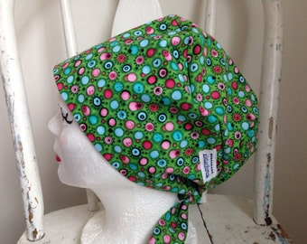 Scrub Hat Tie Back Pixie Style Green with Small Pink and Blue accents