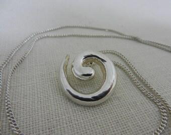 sterling silver pendant, spiral pendant