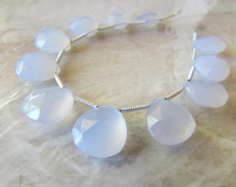Matched Pair Ice Blue Chalcedony Faceted Pear Briolettes, Approx 12x12mm, Teardrops