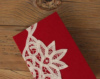 Red, Linen Lace Journal - The Uncut Book