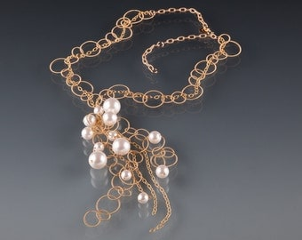 Big Loopy Gold Chain and White Pearls Necklace