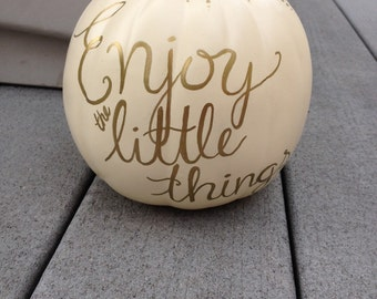 Custom Small Ivory and Craft Pumpkin with Gold Quote