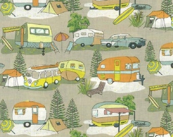 Fat Quarter Retro Caravans Holiday Camping 100% Cotton Quilting Fabric Nutex