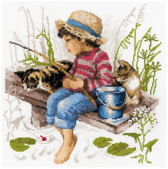 Lets go fishing boy and cats 14 count cross stitch kit by for Cats go fishing