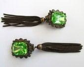 Vintage Tassel earrings * brass * princess cut * faux peridot stone * clip ons