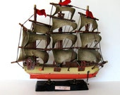 """SALE, Vintage Handmade Wooden Sailboat, Toy, Kids, Home and Living, Beach Cottage decor, 12"""" x 11"""",  Pirate Ship"""