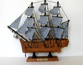 Vintage Wooden Sailboat, Toy, Kids, Home and Living, Beach Cottage deco, Pirate Ship