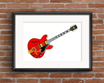 Noel Gallagher's 1960's Gibson ES-355 guitar POSTER PRINT A1 size