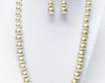 Simple but Lovely Almond Glass Pearl Necklace & Earrings Set