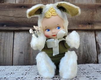 Knickerbocker Rubber Face Bunny Rabbit Easter Flowers