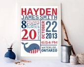 Birth announcement, nautical print, birth stats print,  Nautical decor, Kids Wall Art, Baby Decor, Nursery print, birth, whale print, A-1079